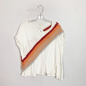 Free People | rainbow striped boxy t-shirt white S